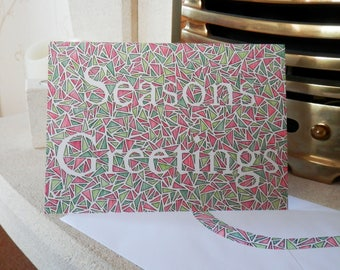 Seasons Greetings - A5 Greetings Card with Illustrated Envelope