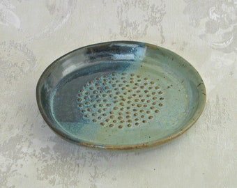 Garlic Grater, Bread Dipping Plate In Soft Green and Blue Black