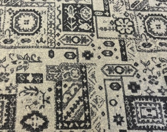 Charcoal Exotic Block Print On Oyster White 100% Wool