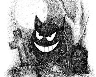 Gengar- A4 pokemon inspired art print by Jon Turner- cute geeky artwork- FREE WORLDWIDE SHIPPING