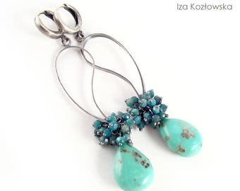 Tursley - silver earrings with turquoise Sleeping beauty and apatite