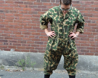 1960s Duxbak Camo Jumpsuit Coveralls Vintage Hunting Gear Cotton Overalls Made