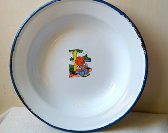 Enamel Kids Plate Shabby Chic Decorative Plate Rustic French Decor- vintage white enamel plate with pig blue margin