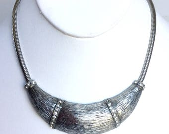 Vintage Silver Collar Necklace with Large Antique Silver Crescent Moon Curve Shape with Textured Lines and Clear Rhinestones on Snake Chain