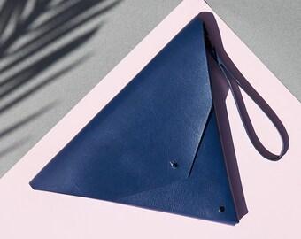 Geometric Triangle Clutch Navy Blue Leather