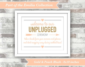 INSTANT DOWNLOAD - Emilia Collection - Wedding Printable Unplugged Ceremony Sign - Gold Glitter Blush Peach-Pink - 8x10 Digital File
