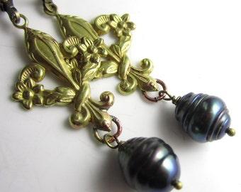 Baroque Freshwater Pearl and Brass Fleur De Lis Earrings
