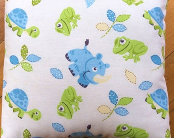 LAST TWO!Boys Nursery Blue and Lime Green With Baby Animals Cushion Cover 40cm x 40cm