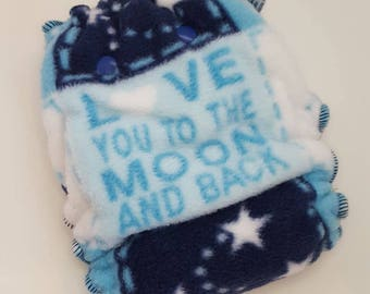 CLOTH DIAPER Nighty Night Fitted *Made to Order* Love you to the Moon,Nighttime Diaper,Night Diaper,Night Cloth Diaper,Fleece Outer Diaper