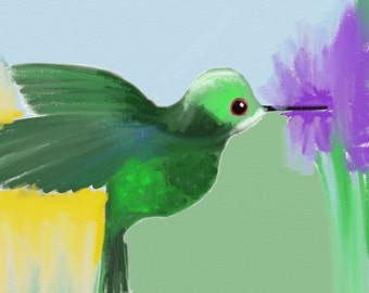 Hummingbird Art Notecards (set of 6 folded cards with envelopes in a clear box) - fluttering hummingbird art print