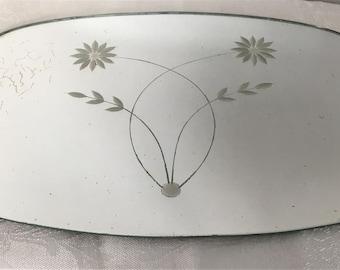 Vintage Etched Vanity Top Mirror Dresser Jewelry Tray