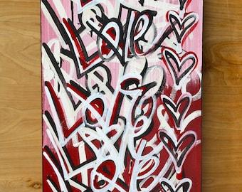 ORIGINAL Valentines love contemporary fine Valentine's Day art acrylic urban word modern peace pop art painting From ChrisRiggsArtGallery
