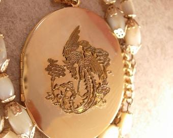 Vintage Chinese Dragon Locket MOP necklace