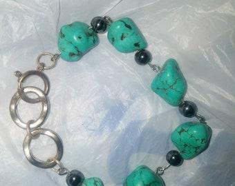 Handmade Turquoise Beaded bracelet with hematite accents
