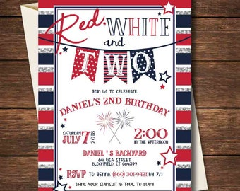Red White and Two Birthday Invitation, Fourth of July Second Birthday, Fourth of July Birthday, Fourth of July Invitation, Red White and Two