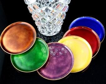 Vintage Enamel Coated Coasters, Drinks Coasters, Copper Coasters, Set of 6 / Made of Copper, Enamel Coated