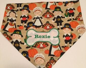 Thanksgiving,  Dog Bandana, dog bone, Personalized, Embroidery, Turkey, Pilgrims, Dog present, photo shoot, dog lovers gift, fanult photo