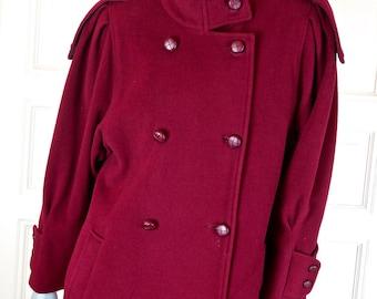 European Vintage Wool Coat, Red Full-Length Retro Winter Coat, Military Style Women's Double-Breasted Coat: Size 12/14 US, 16/18 UK