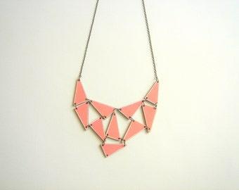 Wooden  Geometric Necklace, Wood Triangles Bib, Geometric Jewelry