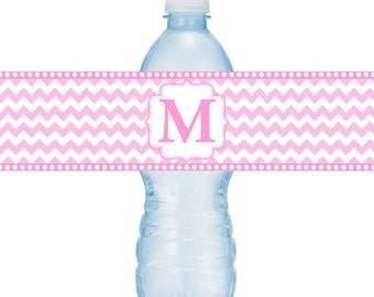 Monogram Water Bottle Labels, CUSTOM Printable Chevron and Monogram, Wedding Water Bottle Labels, you print, DIY water bottle labels