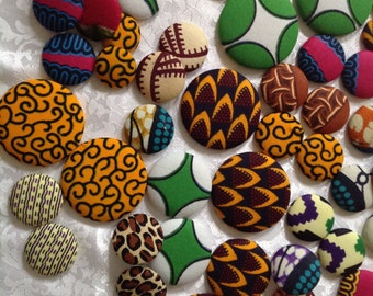 6 pairs African Fabric Earrings, Extra Large Fabric Button Earrings Mix, Ankara Fabric Earrings, African Jewelry, Earrings, African Fashion