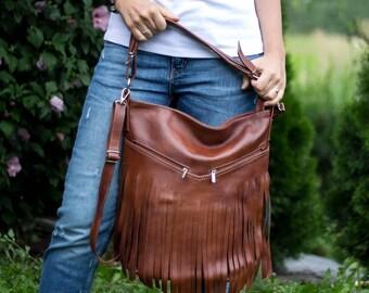 Hobo Bag, Leather Fringe Bag, Bag with Tassels, Large Cross Body Bag, Leather Handbag, Purse, Large Tote, Brown Leather Hobo Bag
