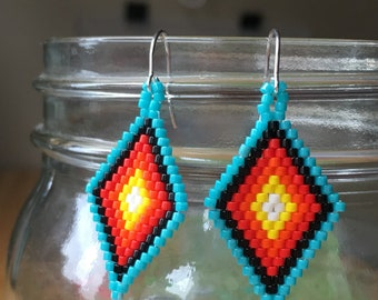 Handmade beaded delica earrings