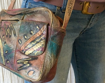 Painted Vintage Cross Body Leather Bag