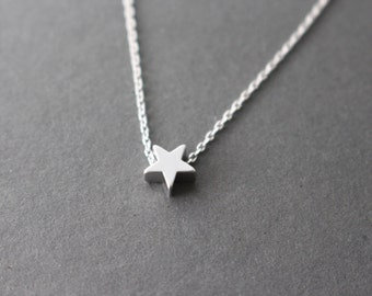 Star Necklace, Wishing star necklace, Silver Star Necklace, gift