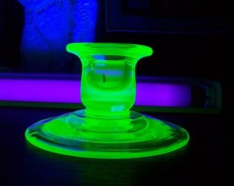Uranium Glass SIngle Candle Stick Holder Home Decor Accent Glows Under UV Black Light