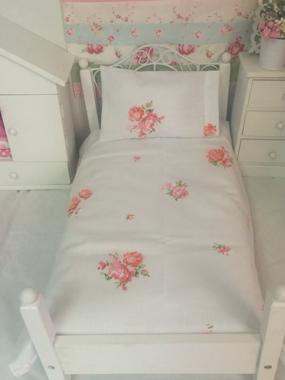 "18 inch  Girl Doll Sized Sheet set- Vintage pink and Blush Roses-18"" Doll size"