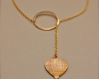 Hot Air Balloon Jewelry Necklace Lariat Gold Brass