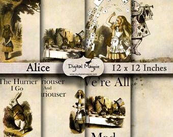 Alice In Wonderland digital scrapbook paper 12 x 12 inch grungy digital paper brown background  white rabbit mad hatter journal