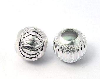 Carved 6mm Aluminium Round Beads - 50 pack