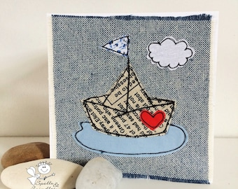 Paper Boat, free motion machine embroidery Greeting Card