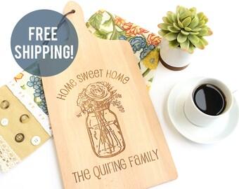 Personalized Cutting Board, Personalized Housewarming Gift, Mason Jar Cutting Board, Custom Gift, Hostess Gift, Custom Cutting Board