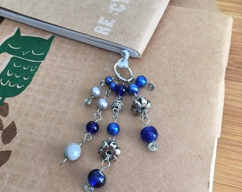 Ravenclaw Bookmark Blue & Silver Beaded Book Thong Hogwarts House Colors