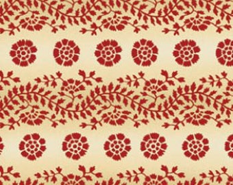 By The HALF YARD - Sara's Stash by Sara Morgan for Blue Hill Fabrics, Pattern #7409-8 Floral Vine Stripe in Red, Tan and Cream