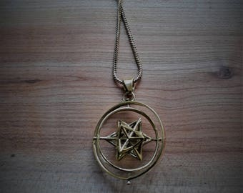 sacred geometry: in 2 dimension spinning Solar star (brass)