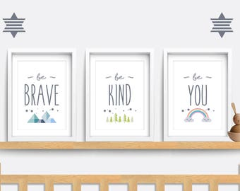 Set of 3 nursery prints, Be brave, Be kind, be you print, Rainbow bedroom art, Baby nursery decor, Nursery wall art, Baby gift, cloud print