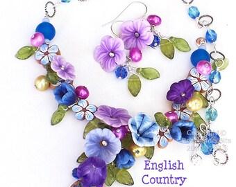 ENGLISH COUNTRY GARDEN Set, Artist Whimsical Earrings & Necklace, Swarovski, Purple violets,Iris, Flowers, Australian Made