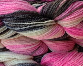 Handpainted Merino Wool Worsted Weight Yarn in Me Too Pink White Gray Black