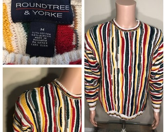 Vintage Roundtree & Yorke sweater // COOGI style // look a like cosy // hip hop costume party Coogi 90s / adult medium // bright colors rare
