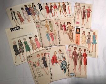 Vintage Sewing Patterns 1960's - Ten (10) Patterns