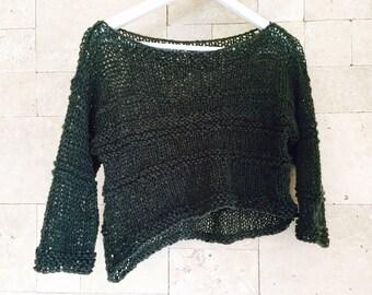 Sweater , Dark Grey Knit Sweater , Grey Chunky Sweater, Womens Sweater, Womens Grey Chunky Oversized Sweater, Women's Clothing