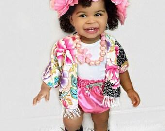 Bright floral child kimono, baby kimono, child kimono, mommy and me kimonos, floral kimono, child kimono, pink floral kimono, fringe