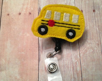 School bus badge reel -- perfect for bus driver, teacher, school employee
