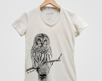 OWL Shirt Women Custom Hand Screen Print Tri-Blend Short Sleeve Tshirt Available: S , M , L , XL