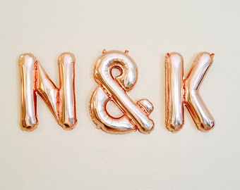 Rose Gold Initial Balloons,Custom Initial Balloons,Wedding Banner, Engaged Balloons,Engagement Photo Prop,Initial Balloons, Initial Banner,