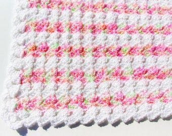 Pink Baby Blanket, Crochet Baby Blanket, Crochet Blanket, Baby Girl Blanket, Mint Baby Blanket, Baby Afghan, Ready to Ship, Baby Shower Gift